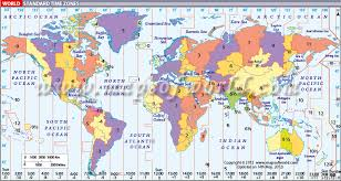 world timezone map displays the standard time zones around the