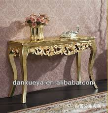 Gold Console Table Chinese Supplier Luxury Elegant Princess Carved Gold Console Table