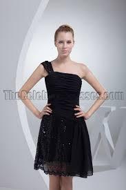 chic short black one shoulder graduation party dresses