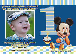 baby mickey mouse first birthday invitation with photo free thank