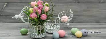 Facebook Profile Decoration Easter Eggs On Grey Wood Cage Flowers Facebook Cover Holidays