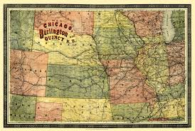 Chicago Railroad Map by Old Railroad Map Chicago Burlington And Quincy 1879