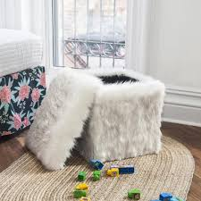White Storage Ottoman Faux Fur Storage Ottoman In White Fox Free Shipping Hideout