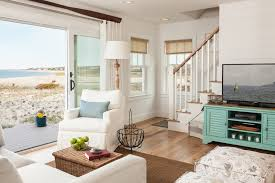 Coastal Cottage Living Rooms by Burlap Window Treatments Living Room Beach With Beach Cottage