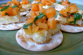 pan fried brie cheese with persimmon salsa canapés recipe cookin