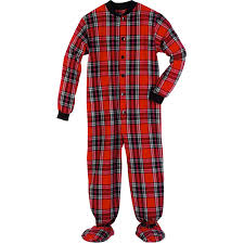 s flannel footed pajamas black and