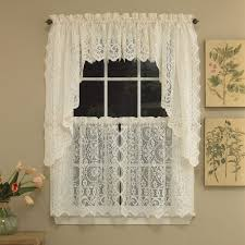 hopewell heavy cream lace kitchen curtain choice of tier valance