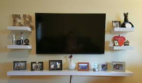 Modern Tv Room Design Ideas Wall Mounted Tv Decor Floating Shelves Make The Entire Wall A