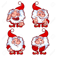 christmas gnome in red costume with different emotions funny