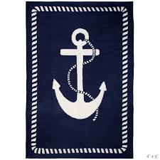 Round Nautical Rugs Jonathan Adler Anchor Rug Navy Blue And White Nautical