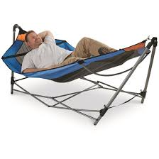 guide gear oversized portable folding hammock blue orange 350 lb
