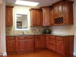 Kitchen Mosaic Tiles Ideas by Flooring Brown Wooden Kitchen Cabinet With Countertop And Mosaic