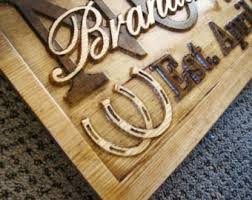horseshoe wedding gift family name sign personalized carved custom wood couples