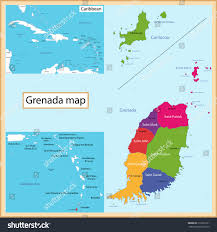 Caribbean Sea Map by Map Grenada Drawn High Detail Accuracy Stock Vector 210236131