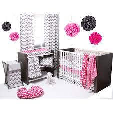 Muslin Crib Bedding Ikat Zigzag Pink Gray 6 Crib Set With Muslin Blankets By