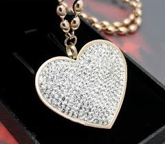 steel heart necklace images Cz pave heart womens stainless steel pendant necklace iced out etsy jpg
