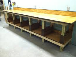 Workbench Designs For Garage Shop Work Bench With Top And Back Splash Attached Top Is 14ft X
