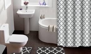 Bathroom Shower Curtain And Rug Set Lattice 15 Shower Curtain Bath Rug Set Groupon