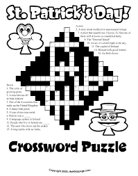 st patrick u0027s day crossword puzzle free coloring pages for kids