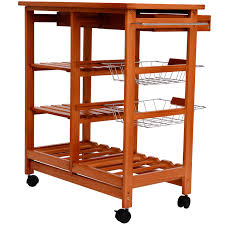 homcom 26 portable rolling trolley kitchen cart with tile top