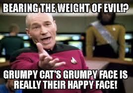 Grumpy Face Meme - meme creator bearing the weight of evil grumpy cat s grumpy face