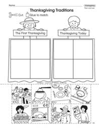 this thanksgiving worksheet has student sort pictures of past and