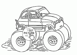 fiat 500 monster truck coloring page for kids transportation