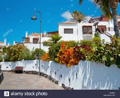 spanish style homes in tenerife stock photo royalty free image