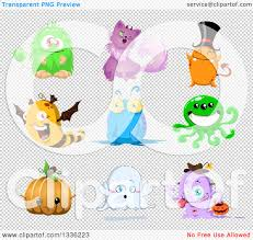 clipart of cartoon halloween monsters royalty free vector
