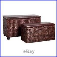Leather Effect Ottoman Set Of 2 Cattai Leaf Leather Effect Ottoman Storage For Bedrooms