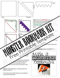 monster bookmarks with free printable template