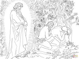 adam and eve flee from the presence of god coloring page free
