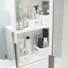 nice under bathroom sink storage white compact plastic bins 4 pack