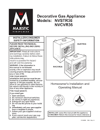majestic fireplaces cvr36 operating instructions