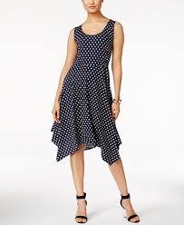ny dress ny collection polka dot a line handkerchief hem dress dresses