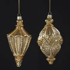 pack of 6 ornate glass antique gold finial ornaments 6