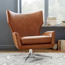 Vintage Brown Leather Armchair Hemming Leather Swivel Armchair West Elm