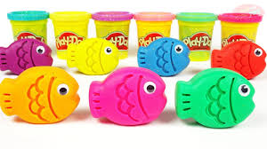 learning colors for kids with play doh fish and toys cutting