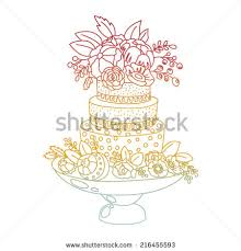 wedding cake outline wedding cake flowers black color outline stock vector 216455599