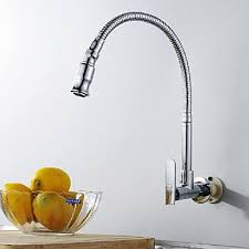 Chrome Kitchen Sink Wall Type Arbitrary Rotating Chrome Plated Brass Kitchen Sink Tap