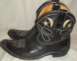 short motorcycle boots golden goose deluxe brand italy brown moon stars leather western