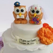custom police and nurse owl love bird wedding cake toppers