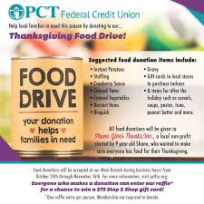 pct federal credit union s thanksgiving food drive benefiting shane