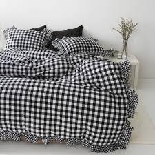 gingham frilled duvet cover cotton bedding ruffle bedding queen