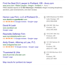 Portland Oregon Google Maps by Dui Lawyers See Google Local U201cpack U201d Search Results Return In March