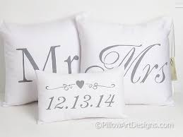 mr and mrs pillow mr and mrs pillow covers with wedding date pillow set of three