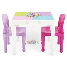 duplo table with chairs amazon com tot tutors 2 in 1 pink plastic compatible activity
