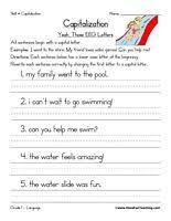 kindergarten capitalization worksheet first letter of a sentence