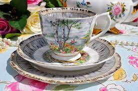 royal albert silver birch pattern collectible 1940 u0027s teacup trio
