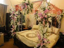 classic bridal bedroom decoration with white beddig set and